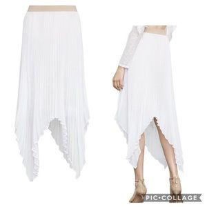 BCBG MaxAzria Rumi Pleated Long White Skirt Sz XS